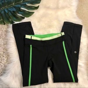 Lululemon Black Pants With Green Stripes Size 4